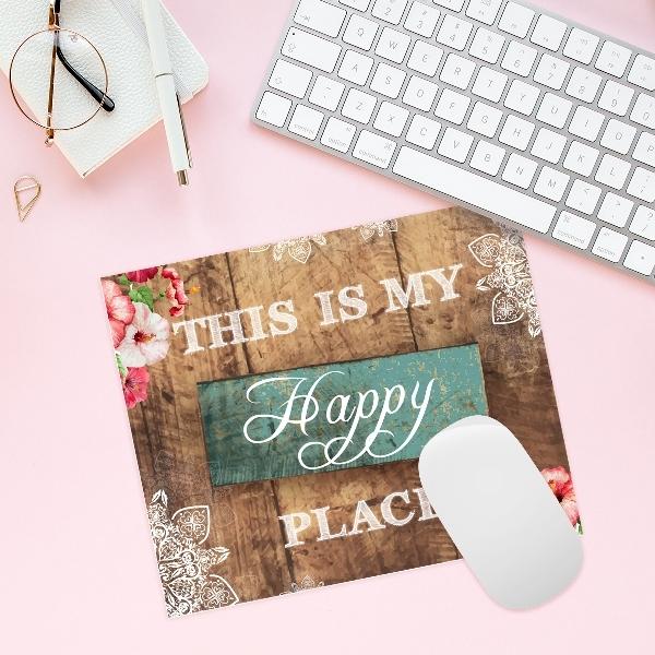 """משטח לעכבר """"Happy place""""   פד לעכבר   פד לעכבר מעוצב   מתנה למשרד   מתנות מקוריות"""