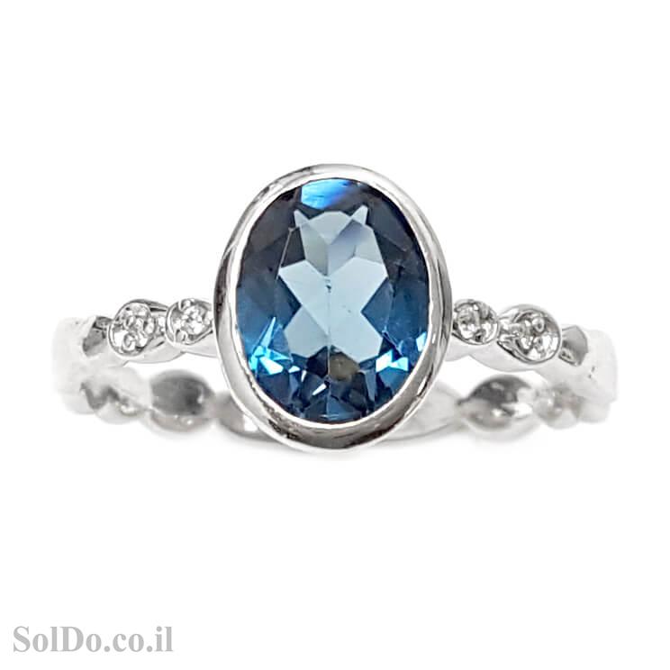טבעת מכסף משובצת אבן טופז כחולה  וזרקונים RG1594 | תכשיטי כסף 925 | טבעות כסף