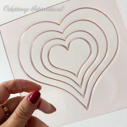 תבנית לב עם נשמה | תבניות מסגרת לב ליצירה בשוקולד | תבנית לב לקישוט עוגה 4 לבבות |  חדש אתי דבש