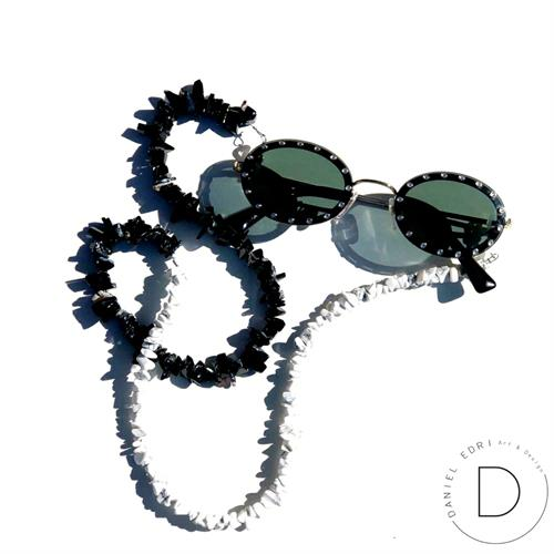 שרשרת למשקפיים - שחור לבן