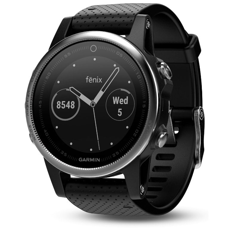Garmin Fenix 5S Silver with black band שעון דופק