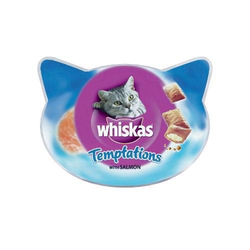 ויסקס לחתולים טמפטיישן עם סלמון 60 גרם - WISKAS TEMPTATIONS SALMON 60G
