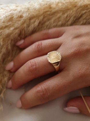 טבעת זהב חותם שמש