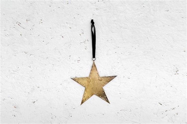 כוכב שטוח ממתכת - זהב (גודל L)