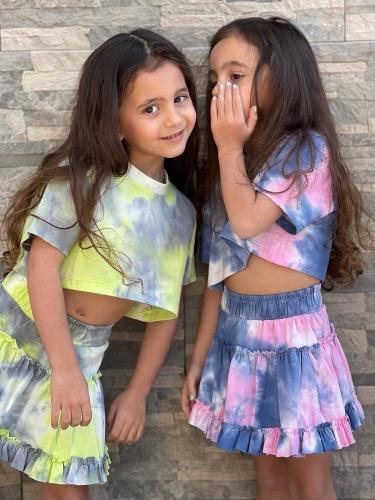 Miss kids חליפת חצאית צהוב טאי דאי מידות 2-16