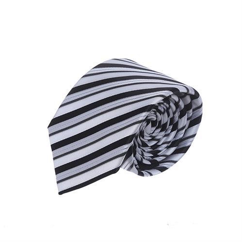 עניבה פסים דקים שחור לבן