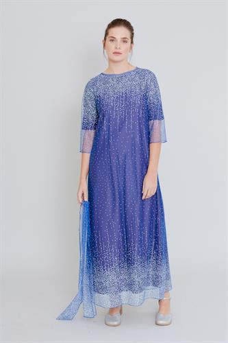 שמלת שלג מקסי כחול רויאל