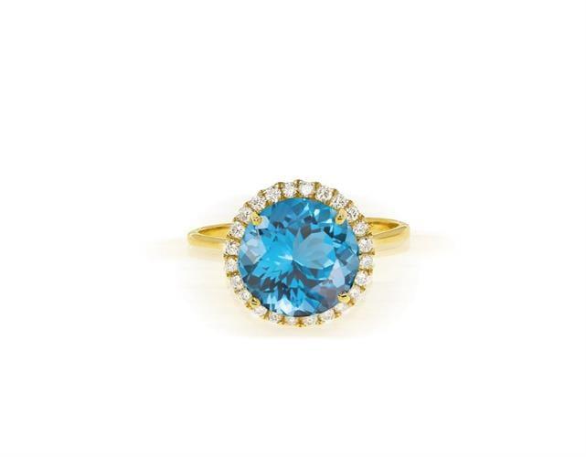 טבעת זהב משובצת אבן בלו טופז ויהלומים 0.25 קראט