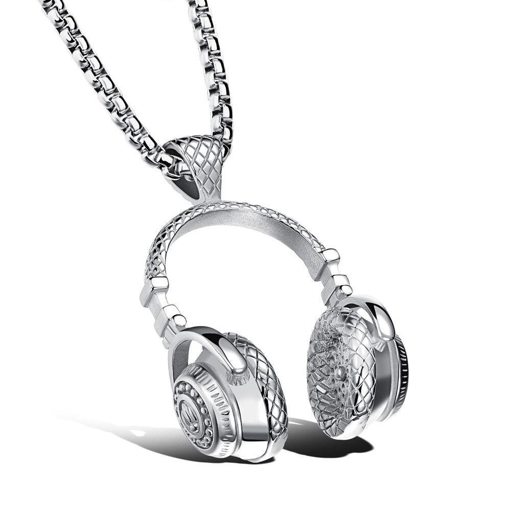 שרשרת ותליון פלדה אוזניות דיג'יי גבר MY041300028IN