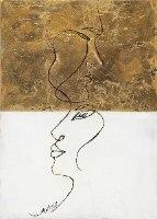 פנים אבסטרקטי זהב לבן