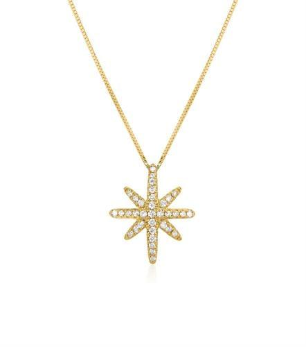 שרשרת יהלומים שרשרת שושנת הרוחות שרשרת כוכב משובצת יהלומים