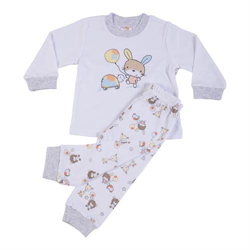 פיג'מה הדפס צב וארנב ומכנסיים תואמים לבן