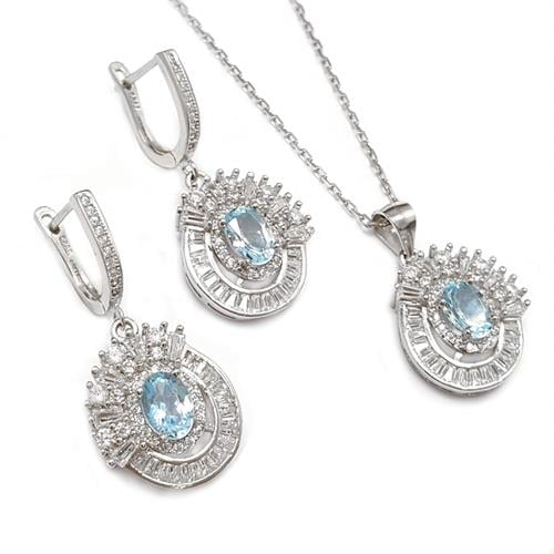 סט עגילים ותליון מכסף משובצים אבני טופז כחול וזרקונים S1539 | תכשיטי כסף 925 | תכשיטים לאירועים