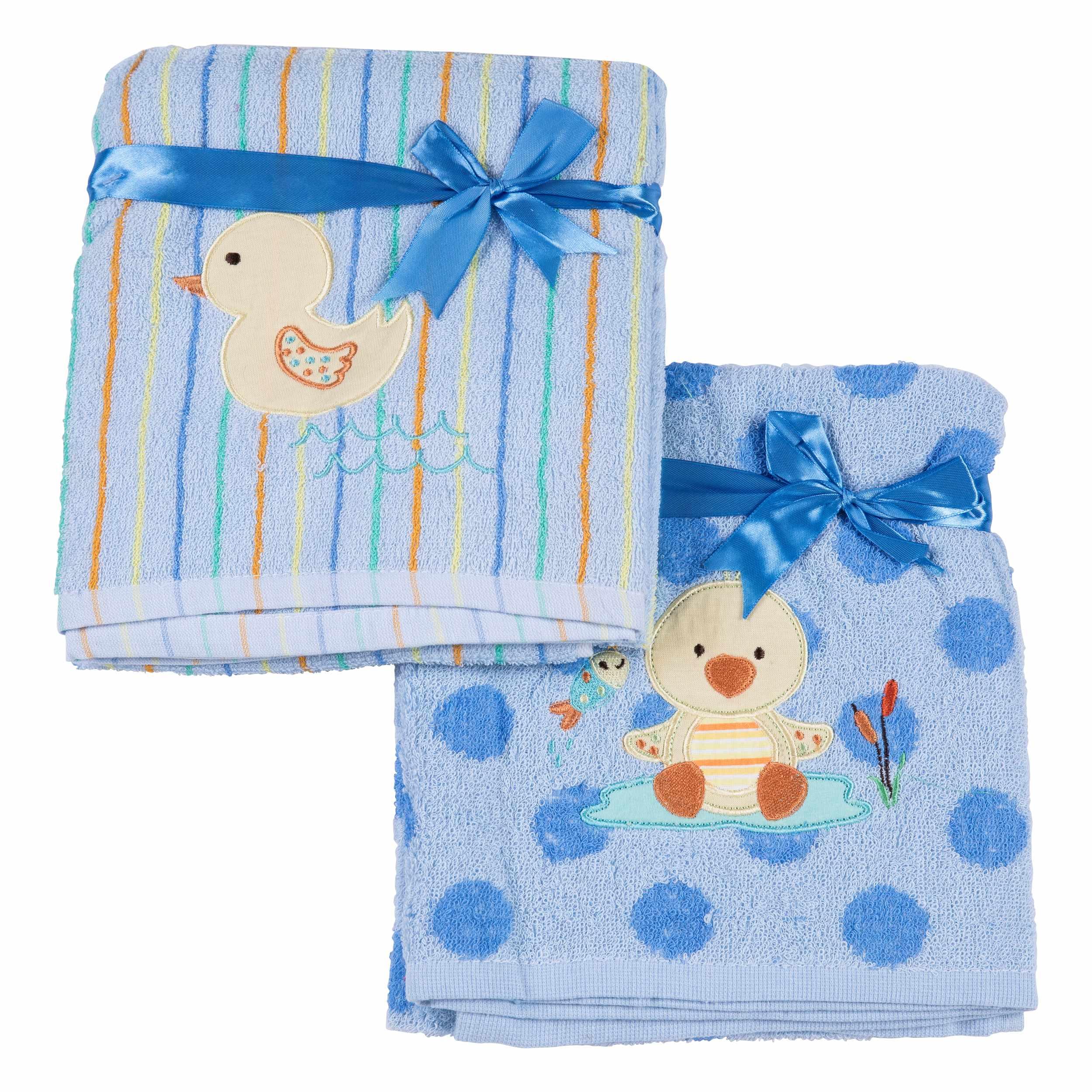 זוג מגבות פליטה לתינוק - כחול