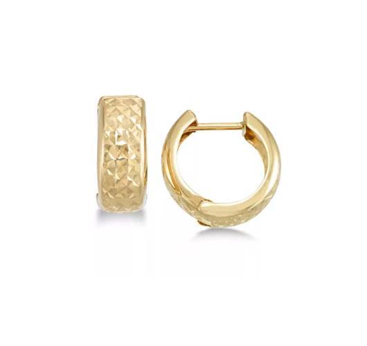חישוקי זהב קטנים עבים עם חריטת לייזר 1.5 סמ