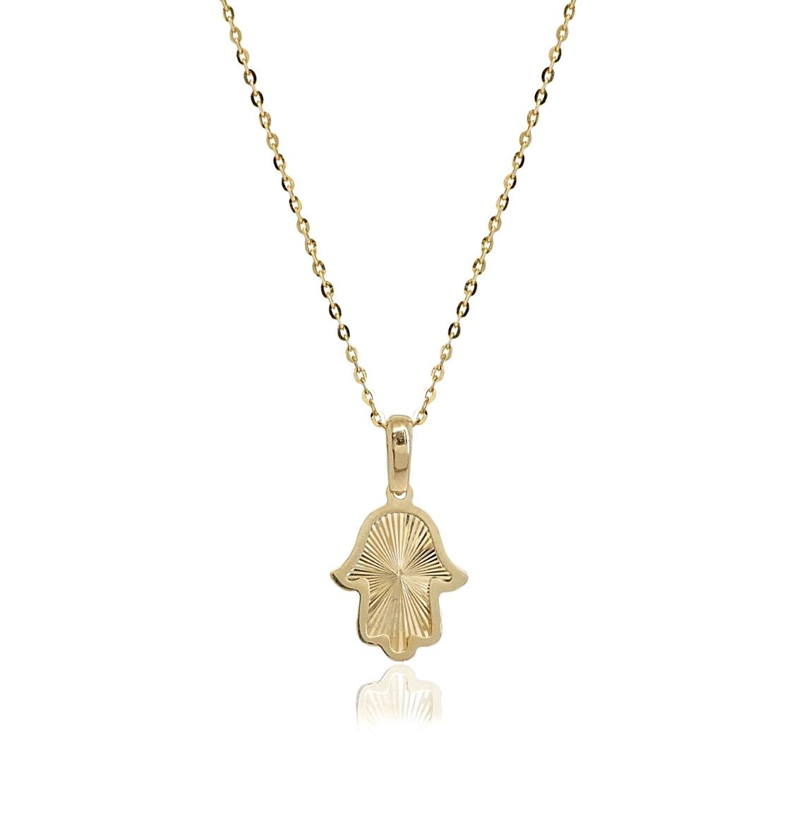שרשרת חמסה זהב   תליון חמסה מעוצב   חמסה מזהב אמיתי 14 קאראט