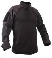 חולצה טקטית מדי לחימה צבע שחור בד מעכב בעירה FR דגם יחידות מיוחדות  צווארון עם 1/4 ריצרץ