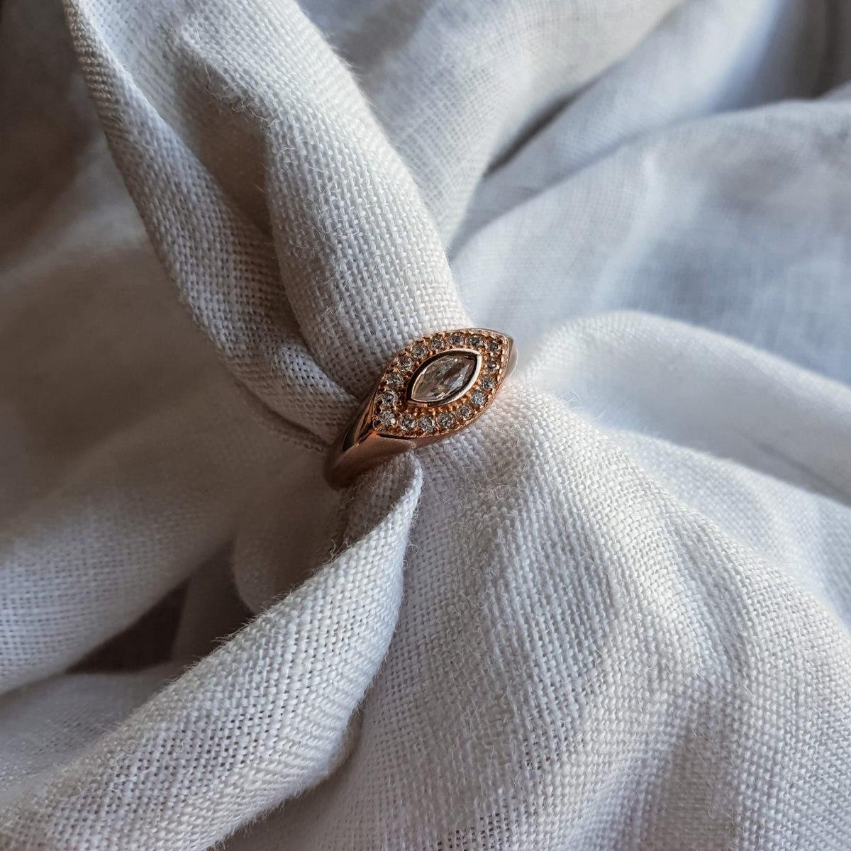 טבעת מרקיזה לזרת- זהב אדום