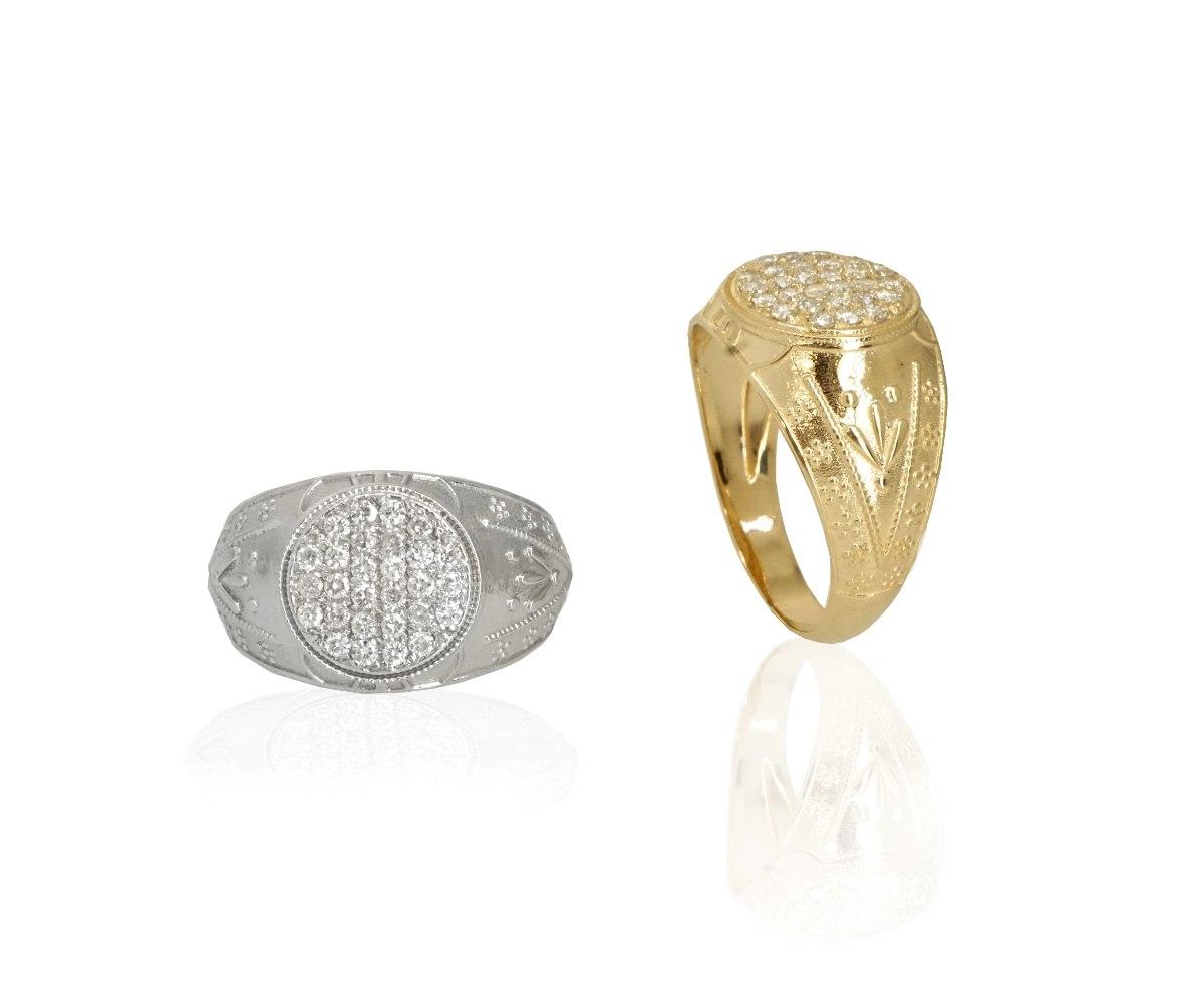 טבעת לגבר זהב משובצת יהלומים עגולה