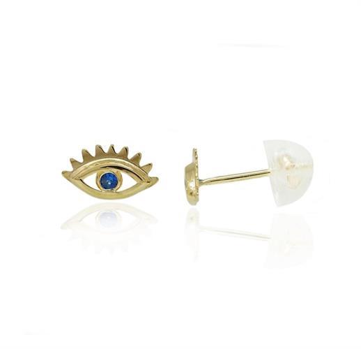 עגילי זהב צמודים לאוזן עין עם זרקונים כחול 14 קרט