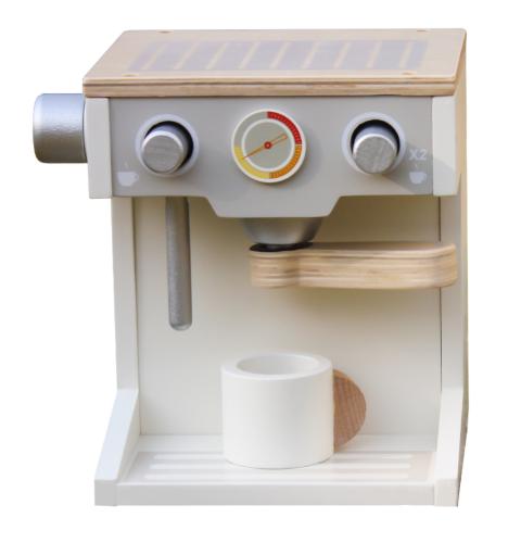 spty-d134 - מכונת קפה מעץ צעצוע לילדים בצבעי לבן ועץ, קפיץ קפוץ