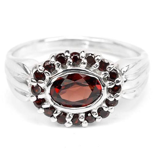 טבעת משובצת אבני גארנט אדום RG16021 | טבעות כסף