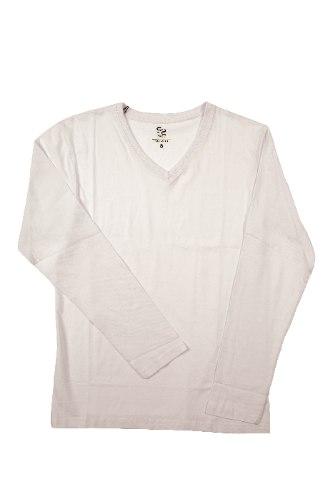 חולצת טריקו מפתח V גברים בצבע לבן