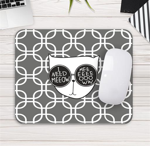 פד מעוצב לעכבר | משטח לעכבר מחשב חתול אפור ולבן | מתנה לאוהבי חתולים