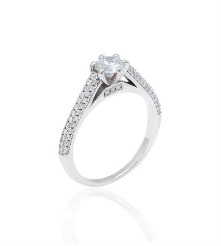 טבעת יהלומים טבעת אירוסין זהב לבן 0.90 קראט