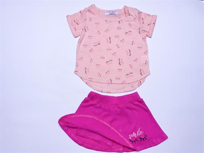 חליפת תינוקות מכנס חצאית ורודה