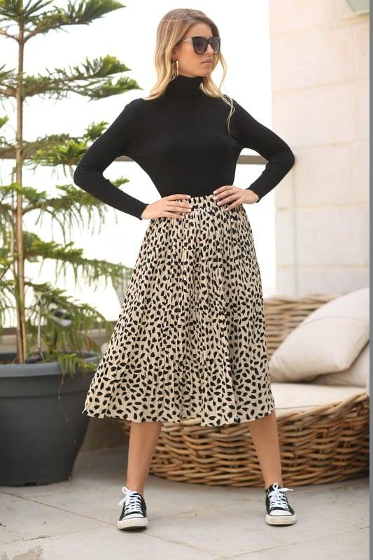 חצאית - הדפס מנומר - צבע שמנת