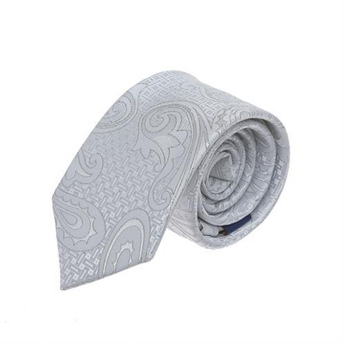 עניבה חתנים פייזלי  משולב כסוף