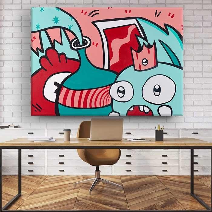 ציור גרפיטי צבעוני למשרד של האמן כפיר תג'ר