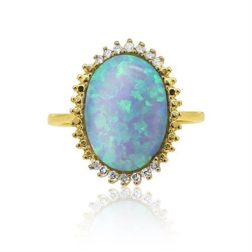 טבעת זהב 14 קרט משובת אבן חן אופל ויהלומים 0.12 קראט