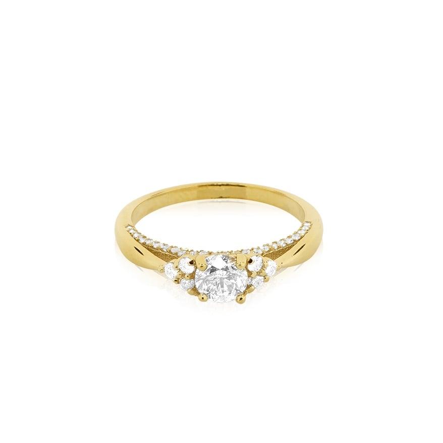 טבעת זהב משובצת יהלומים 0.85 קראט