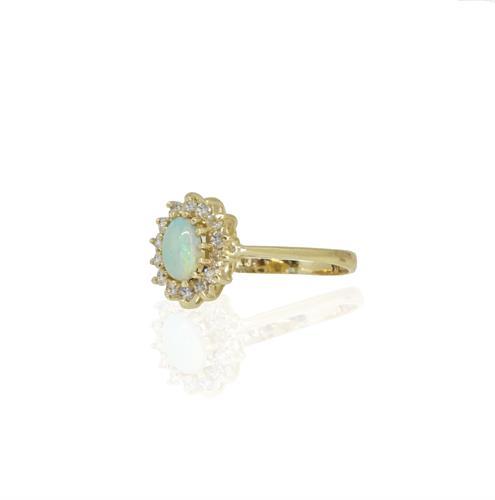 טבעת אבן אופל טבעית ויהלומים דגם דיאנה