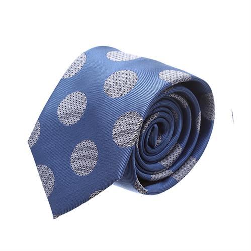 עניבה מנוקדת כחול בהיר לבן