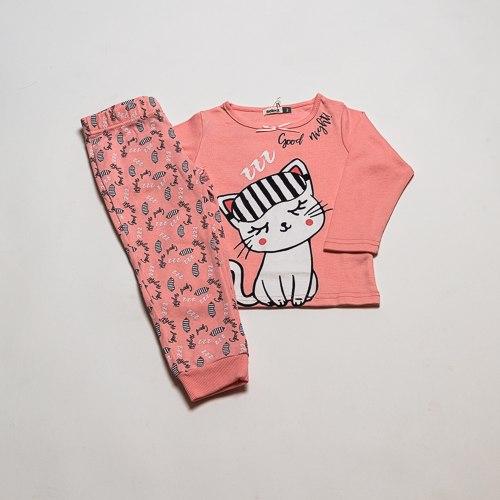 פיג'מת  אינטרלוק חתול אפרסק בנות