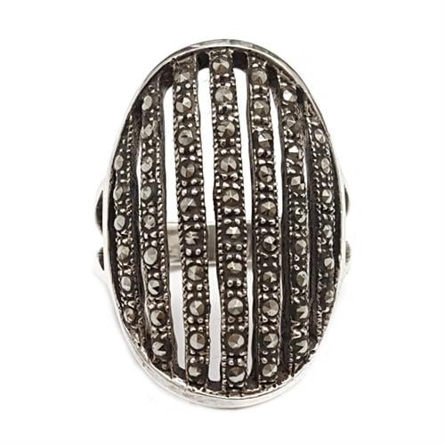 טבעת כסף משובצת מרקזטים RG5904 | תכשיטי כסף 925 | טבעות כסף