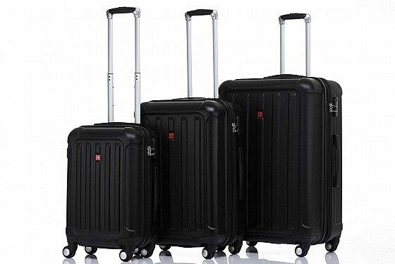 סט 3 מזוודות איכותיות SWISS ALPS - צבע שחור