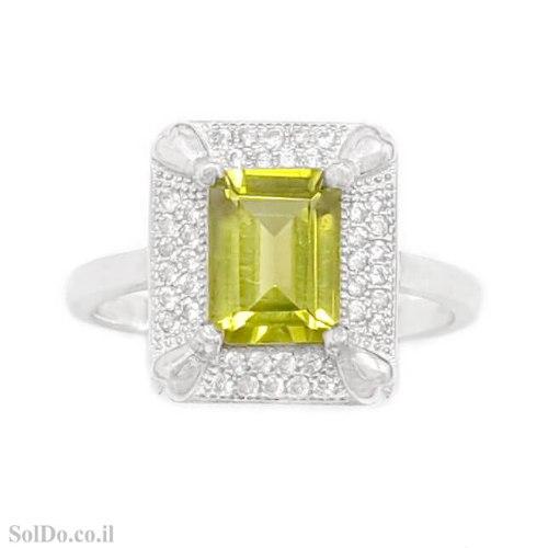 טבעת מכסף משובצת אבן פרידוט ואבני זרקון  RG1719 | תכשיטי כסף 925 | טבעות כסף