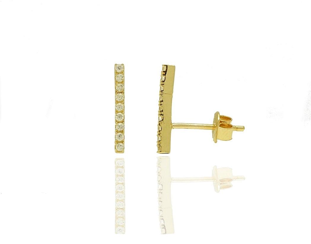 עגילי זהב בר משובצים זרקונים מזהב 14 קרט