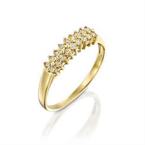 טבעת מצפן האהבה משובצת יהלומים בזהב צהוב או לבן 14 קראט