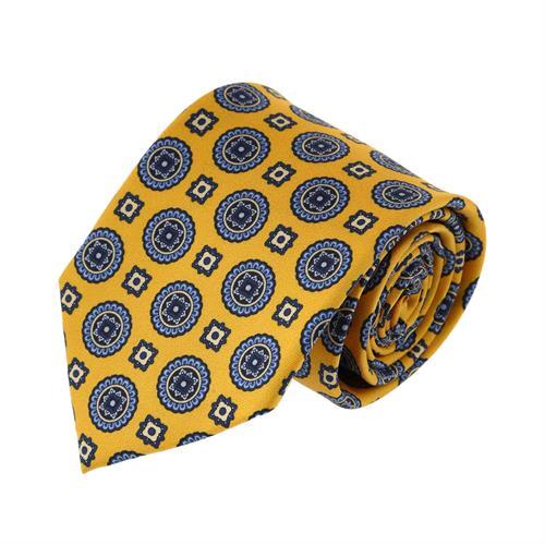 עניבה עיגולים כחול צהוב