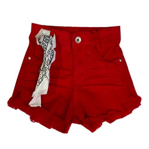 שורט ג׳ינס בנדנה אדום - N-JOY
