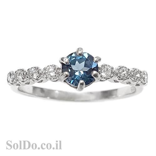 טבעת מכסף משובצת אבן טופז כחולה וזרקונים RG5977 | תכשיטי כסף 925 | טבעות כסף