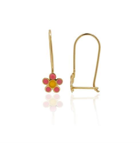 עגילי ילדות פרח נתלה זהב 14 קרט