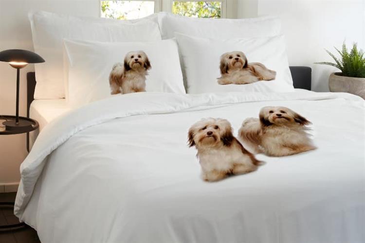 סט מלא זוגי דגם כלבים 100% כותנה סאטן בצפיפות 200 חוט