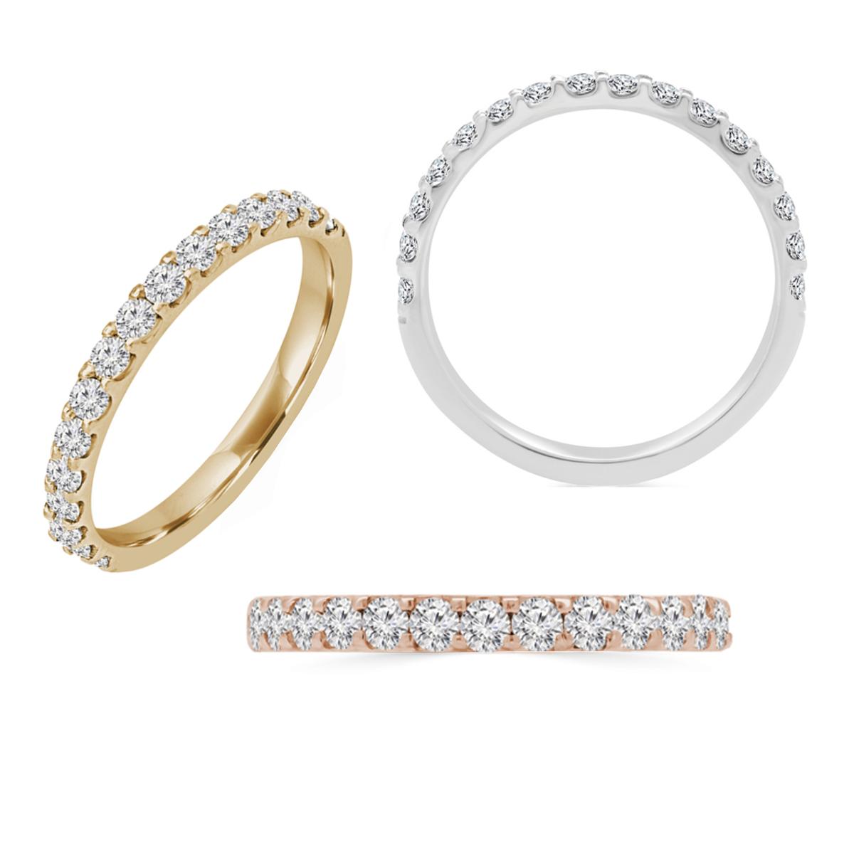טבעת איטרניטי משובצת יהלומים │ טבעת חצי משובצת │ טבעת יהלומים 0.48 קראט