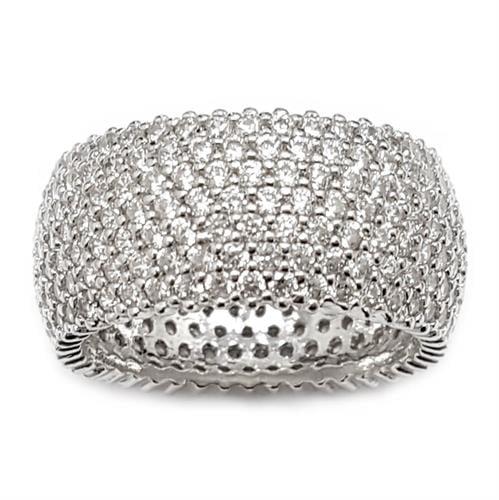 טבעת כסף רחבה משובצת 7 שורות  אבני זרקון  RG5954 | תכשיטי כסף | טבעות כסף